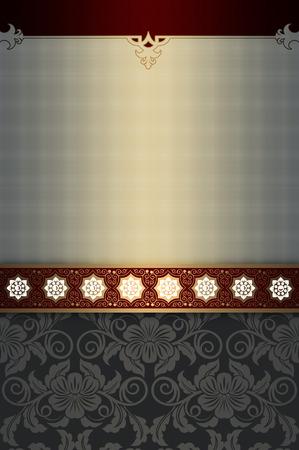 Vintage background with floral patterns and decorative border. Vintage invitation or book cover design.