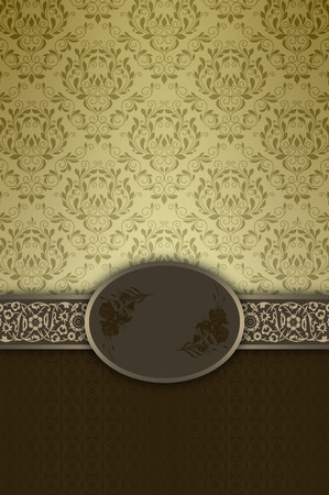 Vintage background with old-fashioned patterns,ornament and decorative frame. Stock Photo