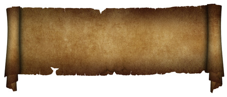 antique paper: Scroll of antique torn parchment. Isolated on white background.