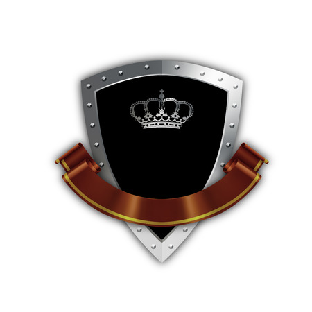 riveted: Black shield with silver riveted border and elegant red ribbon on white background.
