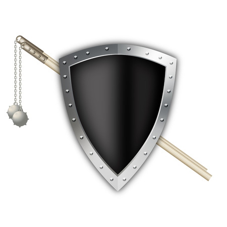 riveted: Black shield with silver riveted border and two maces on white background. Stock Photo