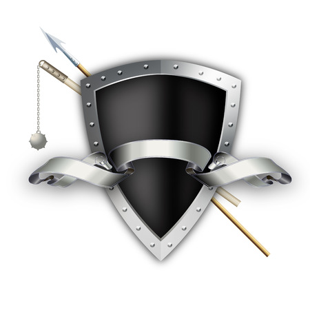 riveted: Black shield with silver riveted border and spear with mace on white background.