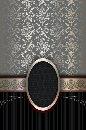 Vintage background with old-fashioned patterns and decorative frame.