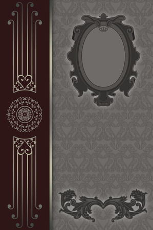 Vintage background with old-fashioned frame and elegant decorative patterns. Baroque style. Stock Photo