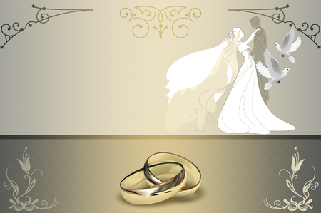 gold rings: Wedding background with gold rings,white doves,flowers and elegant silhouette of newlyweds. Stock Photo