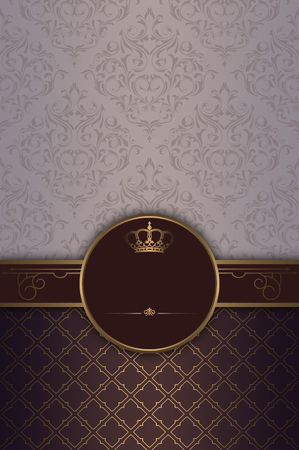 gold crown: Vintage background with old-fashioned ornament, gold crown and decorative border.