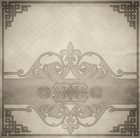 aging: Aging paper background and old-fashioned ornamental border.