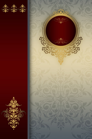 coverbook: Vintage background with decorative border,gold frame and old-fashioned patterns.