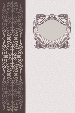 coverbook: Elegant vintage background with decorative old-fashioned frame and ornamental border, Cover-book or vintage invitation card design.
