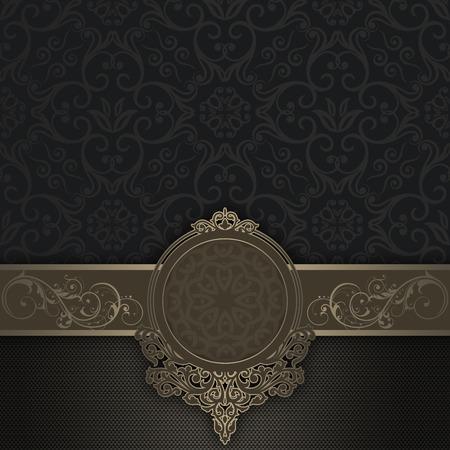 gold floral: Vintage background with decorative border,elegant frame and old-fashioned patterns.