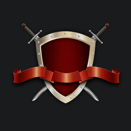riveted: Medieval riveted shield,two swords and elegant red ribbon on black background for the design.