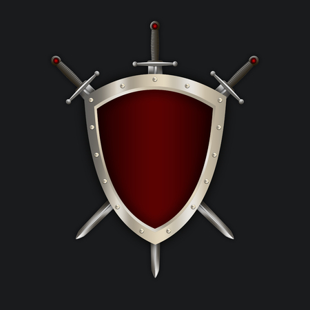 riveted: Medieval riveted shield and swords on black background for the design.