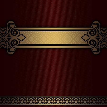 Sfondo decorativo con bordo vintage oro. Ornamento d'oro decorativo. Archivio Fotografico