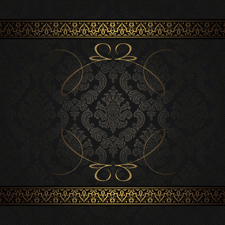 Ornate background with vintage patterns and decorative ornamental border. Black and gold style.