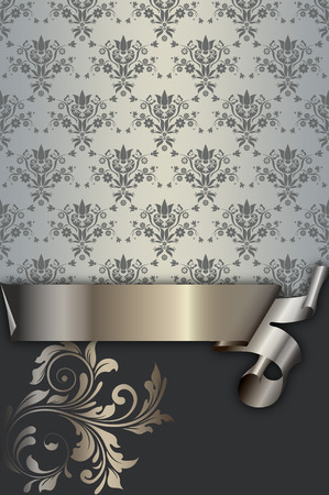 coverbook: Vintage background with decorative ribbon and floral patterns.