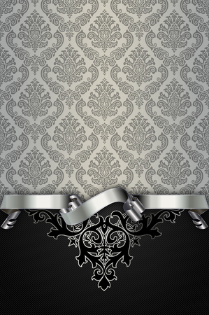 silver ribbon: Vintage background with old-fashioned patterns and elegant silver ribbon. Stock Photo
