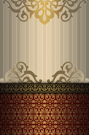 coverbook: Vintage background with decorative old-fashioned patterns. Cover-book or vintage invitation card design.