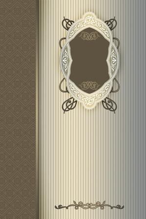 Vintage background with ornamental border,elegant frame and old-fashioned patterns. Book cover or vintage invitation card design.