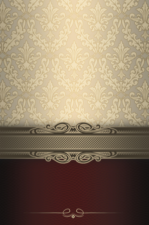 coverbook: Luxury background with elegant vintage patterns and decorative border. Vintage invitation card or cover-book design.