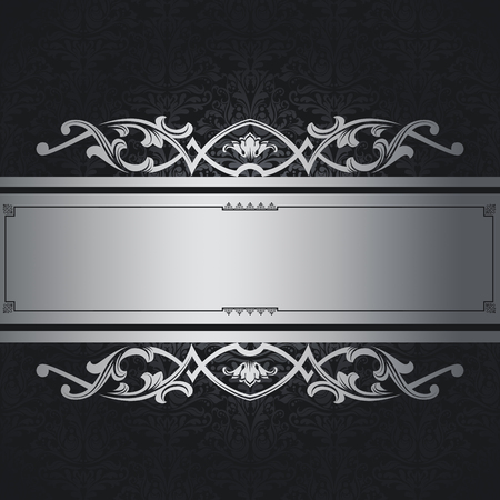 black and silver: Black vintage background with decorative patterns and elegant silver border. Stock Photo
