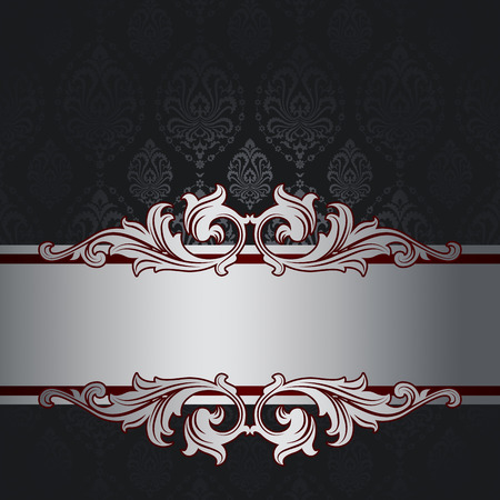 silver backgrounds: Vintage background with decorative old-fashioned ornament and elegant silver border. Stock Photo