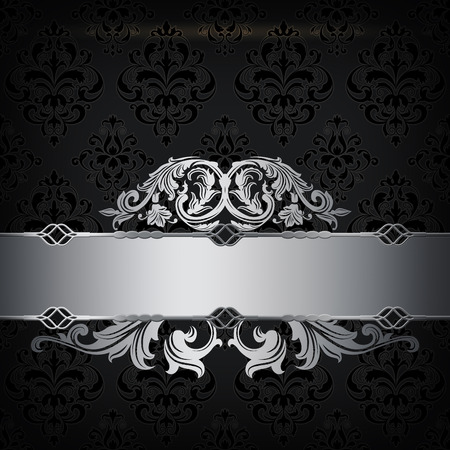 coverbook: Vintage background with decorative border and old-fashioned ornament. Black and silver style.