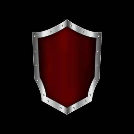riveted: Ancient red shield with silver riveted border on black background.