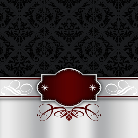 black and silver: Vintage background with decorative border,elegant frame and old-fashioned black ornament.