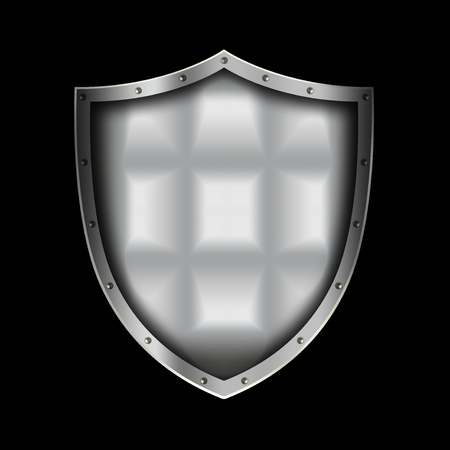 riveted: Medieval silver shield with riveted border on black background.