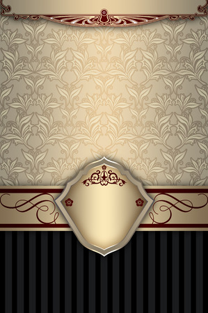 coverbook: Vintage background with old-fashioned floral patterns,elegant border and frame. Stock Photo