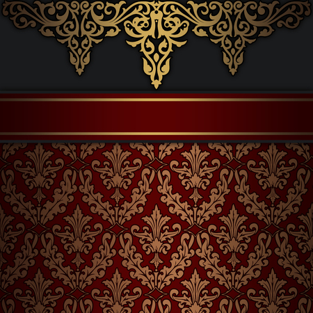Vintage background with decorative ornament and elegant border. Stock Photo
