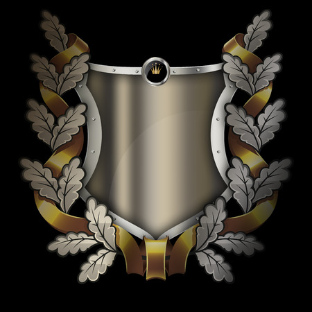 Shield with riveted border and oak branch with gold ribbon on black background. Stock Photo