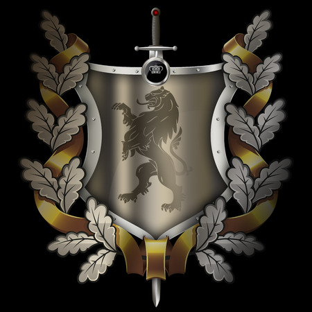 Shield with riveted border,heraldic lion,oak branch with gold ribbon and sword on black background.