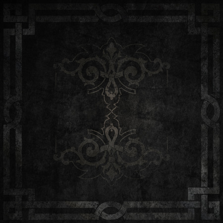 gothic style: Black grunge background with vintage border and old-fashioned ornament. Dark gothic style. Stock Photo