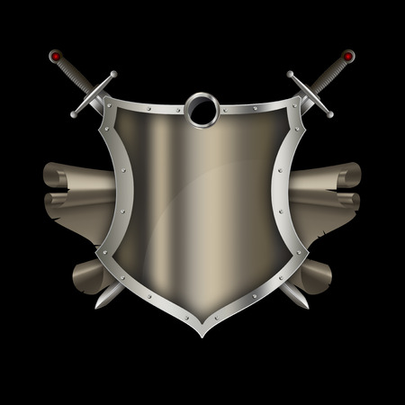 Medieval riveted shield with two swords and antique scroll on blak background. Stock Photo
