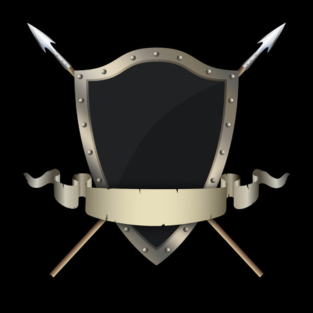 riveted: Medieval riveted shield with two swords and old torn ribbon on black background.