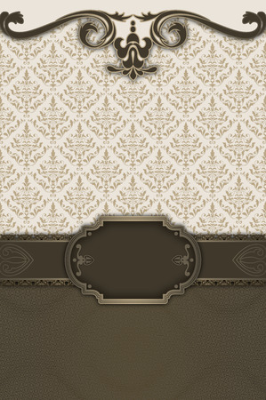 Ornate vintage background with decorative border,frame and old-fashioned patterns and ornaments.