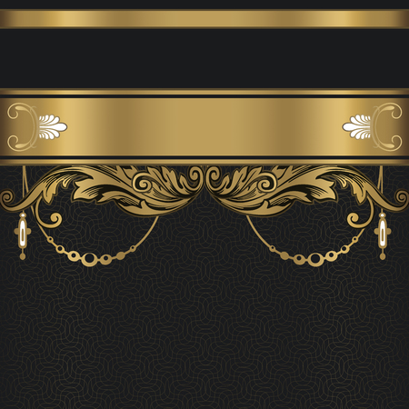 Vintage background with decorative gold border and patterns.Gold and black style.