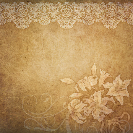 Old grunge paper background with decorative lace border and lily flowers.