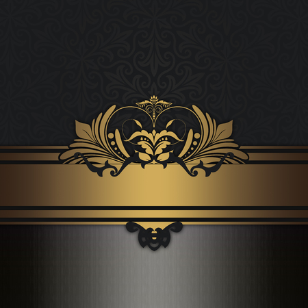 Vintage background with decorative old-fashioned patterns and gold border. Gold and black style.