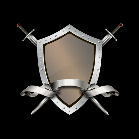 riveted: Medieval riveted shield with silver ribbon and two swords on black background.