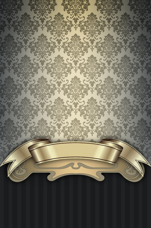 gold ornaments: Decorative background with old-fashioned patterns and elegant gold ribbon. Stock Photo