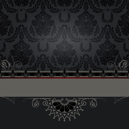 coverbook: Black vintage background with old-fashioned patterns and decorative border.