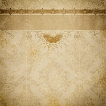 Fondo de papel envejecido con el ornamento decorativo pasado de moda y la frontera. textura de papel de la vendimia para el diseño.