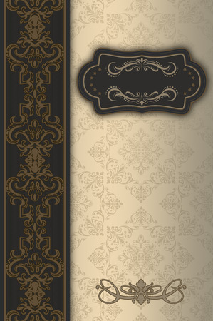 Vintage background with decorative border,frame and old-fashioned elegant patterns. Stock Photo