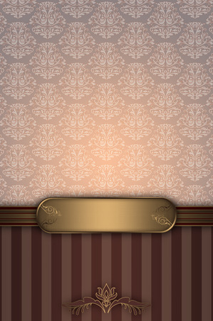 Vintage luxury background with decorative gold border and old-fashioned patterns.