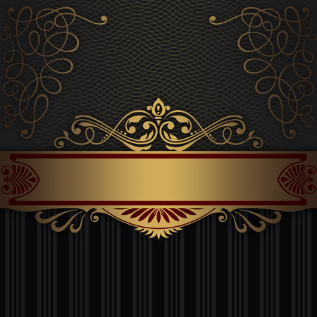 Gold and black decorative background with vintage patterns and border.