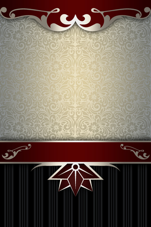 Vintage background with decorative border and old-fashioned patterns. Cover-book or vintage invitation card design.