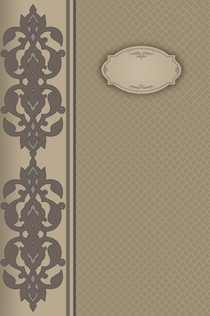 Ornate vintage background with decorative frame and old-fashioned patterns. Vintage invitation card or book cover design.