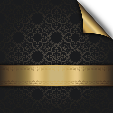 curled corner: Black background with decorative gold border,old-fashioned patterns and gold curled corner.